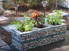 Custom Designed Mosaic Cinder Block Herb Garden Planter Olive Branch Pattern - White, Green, Brown I Herb Garden Planter, Garden Boxes, Cinder Block Garden, Cinder Block Ideas, Raised Garden Beds Cinder Blocks, Raised Beds, Pot Plante, Garden Projects, Diy Projects