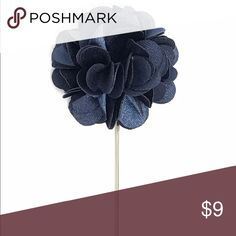 "Navy Blue Satin Flower Lapel Pin for Men's Suits New Men's Navy Blue Satin Flower Lapel Pin. Length: 3"" ; Diameter: 1.75"" The Modern Gallant Accessories"