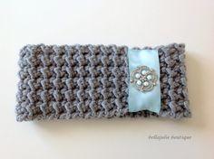 Ribbon Headband Crystal Headband Crochet by BellaJulieBoutique