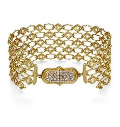 ANAHITA COUTURE COLLECTION  SCREEN BRACELET    18K GOLD SCREEN BRACELET WITH WHITE ROSE-CUT DIAMONDS.