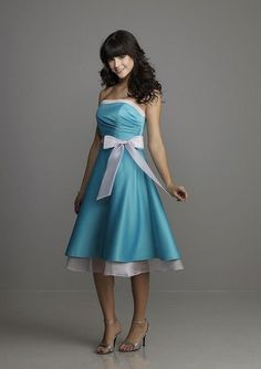 Strapless blue bridesmaid dress