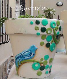 SHABBY CHIC Flower Pot Art, Flower Pot Design, Flower Pot Crafts, Clay Pot Crafts, Diy Clay, Diy And Crafts, Painted Clay Pots, Painted Flower Pots, Planter Ideas