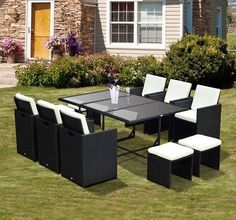 11-Piece Outdoor Patio Furniture Wicker Dining Set Furniture With Cushions Black #11PieceOutdoorPatio
