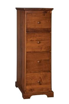 Amish Four Drawer File Cabinet Lots of room to organize files in this high end wood furniture for office. Custom made in choice of wood and stain. #filecabinets #officestorage