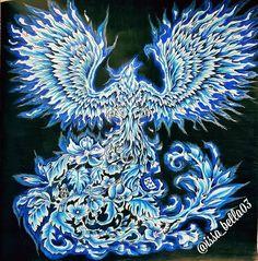 Phoenix and blue fire. Mythomorphia by: @kerbyrosanes. Crayons: Faber Castell Polychromosy, Prismacolor Premier, Carandache Luminance #mythomorphia #imagimorphia #animorphia #kerbyrosanes #coloriage #fabercastellpolychromos #prismacolor #carandacheluminance #coloringforgrownups