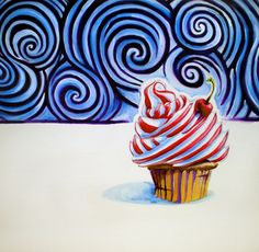 "Saatchi Online Artist Adam Gillespie; Painting, ""Cupcake"" #art #cupcake #painting #food #candy"