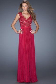 2014 Long Dress V Neck Appliqued Bodice Ruched Waistband Flowing Chiffon Skirt US$ 174.99 EPP2816JE2 - ElleProm.com