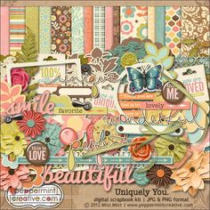 Uniquely You Coordinated Digital Scrapbook Kit from peppermintcreative.com