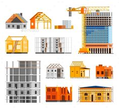 Construction Icons Set by macrovector Construction orthogonal icons set with building a house symbols flat isolated vector illustration. Editable EPS and Render in JPG