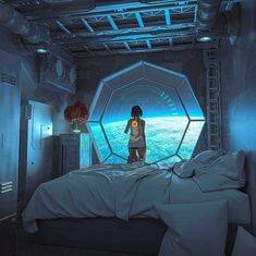 """Man From Mars 2049 — """"Cyberpunk piece I made after The Expanse. Spaceship Interior, Futuristic Interior, Futuristic City, Futuristic Architecture, Futuristic Bedroom, Spaceship Art, Futuristic Technology, Futuristic Design, Technology Gadgets"""