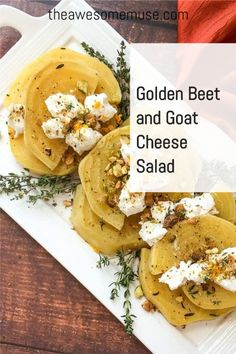 Golden Beet and Goat Cheese Salad is a delicious addition to your Thanksgiving menu. Made via the sous vide method, this delicious root vegetable salad has just the right amount of sweet and savory to please the palate. As tasty as it is elegant, it's a delight to serve for your Thanksgiving dinner. Beet And Goat Cheese, Goat Cheese Salad, Vegetable Salad, Vegetable Recipes, Rice Dishes, Food Dishes, Beet Salad, Thanksgiving Menu, Salad Ingredients