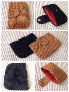 How To Crochet A Shell Stitch Purse Bag Sommer Clutch 2016 Schwarz & Scharlach Orange Sorbet & Scharlach Crochet Wallet, Crochet Coin Purse, Crochet Purse Patterns, Crochet Tote, Crochet Handbags, Crochet Purses, Knit Crochet, Knitting Patterns, Crochet Shell Stitch