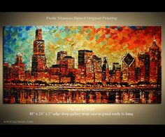 ORIGINAL Cityscape Palette Knife Abstract Modern von Nizamas, $480,00