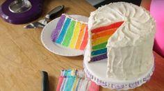 Rainbow Birthday Cake Sliced