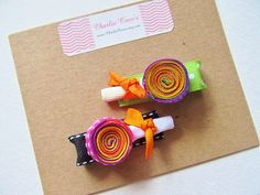 Halloween Lollipop Hair Bow Clips for Baby/ Girl/ Toddler. Sculptured ribbon hair bow clips by Charlie Coco's.  www.CharlieCocos.etsy.com