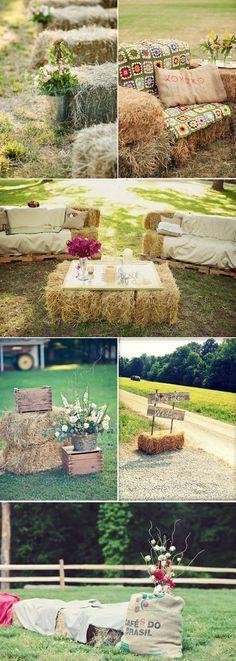 Decoración de la zona del cóctel para bodas en el campo