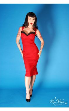 Masuimi Dress in Red Bengaline with Black Lace | Pinup Girl Clothing