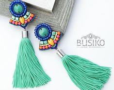 Extra long tassels earrings Beaded embroidered fringe earring