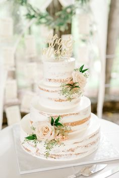 We adore the simplicity and elegance of this white half naked cake finished with a laser cut cake topper at this bright boho chic Tyler Gardens wedding in Bucks County wedding cake Alicia + Michael Fondant Wedding Cakes, Floral Wedding Cakes, Wedding Cake Rustic, Fall Wedding Cakes, Unique Wedding Cakes, Wedding Cake Designs, Fondant Cakes, Rustic Birthday Cake, Cakes Without Fondant
