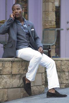 white jeans, vest, jacket & loafers