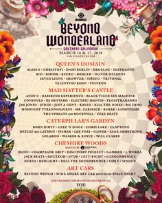 Alice and friends return to NOS Events Center for another journey down the rabbit hole and the best electronic dance music experience in Southern California. Buy tickets, check out the lineup, and more! Andy C, Dj Mustard, Beyond Wonderland, Alesso, Any Music, Festival Posters, Buy Tickets, Lineup, Rabbit Hole