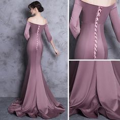 Chic Beautiful Evening Dresses 2018 Trumpet Mermaid Off The Shoulder Backless 1 2 Sleeves Sweep Train Formal Dresses Burgundy Evening Dress, Blue Evening Dresses, Evening Gowns, Formal Dresses, Stunning Dresses, Pretty Dresses, Evening Dress Patterns, Formal Dress Patterns, Dress Outfits