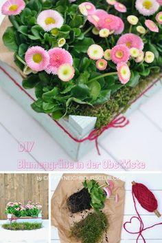 Upcycling DIY: Wie ihr aus einfachen Obstkisten wunderschöne Blumengeschenke machen könnt. Mehr auf Craftyneighboursclub.com