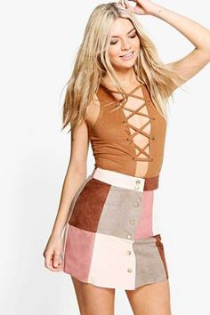 Avah Patchwork Suedette A Line Mini Skirt at boohoo.com