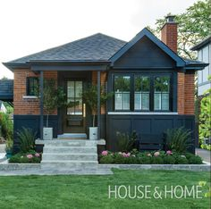 Ideas exterior renovation bungalow for 2019 Exterior House Colors, Exterior Paint, Exterior Design, Black Trim Exterior House, Brown Brick Exterior, Exterior Windows, Exterior Stairs, Home Exterior Makeover, Exterior Remodel