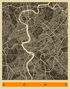 Rome map by Jazzberry Blue Graphisches Design, Graphic Design, Urban Mapping, Rome Map, Abstract City, Urban Fabric, City Maps, Photo Wallpaper, Wall Murals