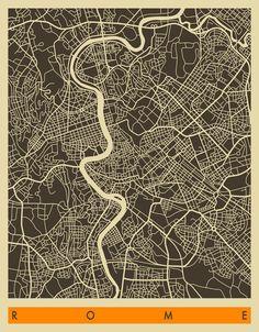 ROME Map Art Print.