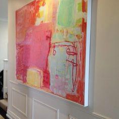 Olivier Rasir's large abstract piece found a beautiful home #art2muse #olivierrasir #abstractpainting #sydneyart #australianart #pink…
