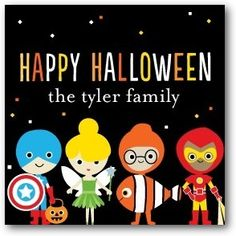 Trick or Treaters - Custom Gift Tag Stickers in Black   Ann Kelle