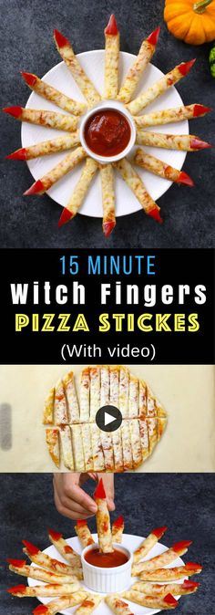 Easy Witch Fingers Pizza Sticks – A quick and easy spooky Halloween recipe that takes less than 15 minutes to make. Great fun to make with kids. All you need is a few ingredients -pizza dough, shredded mozzarella, marinara sauce, red bell pepper and tomat