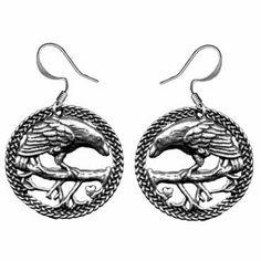 Raven Earrings by Oberon Design: FairyGlen.com