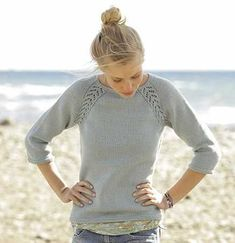 Free Knitting Pattern for a Raglan Lace Sweater
