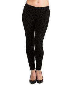 HUE U14604 Jersey Flocked Brocade Leggings in Black, Size Large