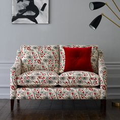 sofette upholstered in Hedgerow fabric by Angie Lewin - Bright Red/Blue