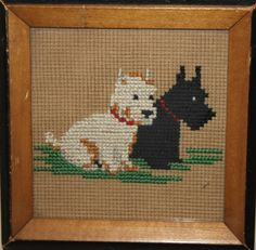 Scottie and Westie cross- stitch