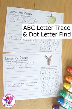 Free ABC Letter Tracing & Dot Letter Find Printable - with tracing and writing of uppercase and lowercase letter with letter find for uppercase and lowercase letters for the whole alphabet - 3Dinosaurs.com #letterfind #abcprintable #3dinosaurs #abclettertracing #freeprintable Tracing Letters, Uppercase And Lowercase Letters, Preschool Learning Activities, Kids Learning, Dot Letters, Letter Find, Kindergarten Learning, Lower Case Letters, Dots