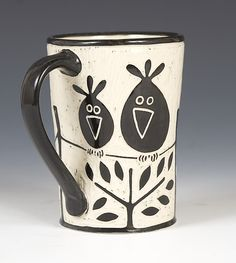Birds on a Wire Mug by Jennifer Falter: Ceramic Mug available at www.artfulhome.com