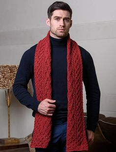 Men's Luxury Aran Honeycomb Scarf