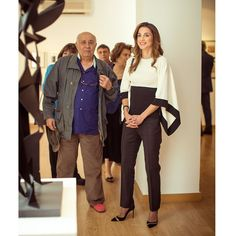 18/5/2015: ♔♛Queen Rania of Jordan♔♛..inaugurated the 'Hussein Madi in Amman' Exhibition at the Jordan National Gallery of Fine Arts. The exhibition showcases 115 artworks donated to the permanent collection of the Gallery by the world-renowned artist. Accompanied by Princess Wijdan, Her Majesty toured the art exhibition and was briefed about the art pieces by the artist himself. The collection includes paintings, graphic printing and sculptures. (Source: Petra)