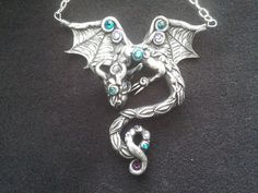 Silver Black Dragon Necklace by MakoslaCreations on Etsy, $46.00