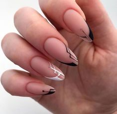 Edgy Nails, Chic Nails, Oval Nails, Classy Nails, Stylish Nails, Chic Nail Art, Long Round Nails, Nail Drawing, Romantic Nails