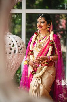 A Multicultural Wedding In Bangalore With Bride In Stunning Kanjivaram Saree! Check out photos, ideas & stories shared by Bride & Groom. South Indian Bridal Jewellery, South Indian Weddings, South Indian Bride, Lehenga Saree Design, Sari, Indian Silk Sarees, Indian Look, Indian Wear, Saree Trends