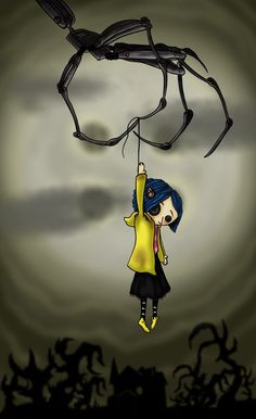 Coraline Doll Dangling over the house in front of the moon. Coraline Tattoo, Coraline Drawing, Coraline Movie, Coraline Doll, Coraline Jones, Wallpaper Iphone Cute, Cute Wallpapers, Coraline Aesthetic, Tim Burton Art
