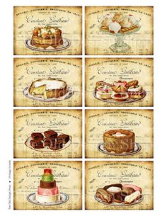 ATC Background Vintage Sweets Art Journal by TheOldDesignShop, $3.50