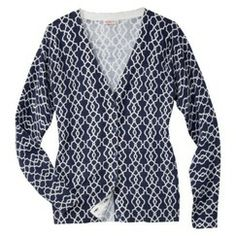 Merona® Women's Ultimate Long Sleeve V-Neck Cardigan - Navy Print - L