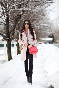 Trench: Coach ℅| Bag: Coach℅ | Top: J.Crew | Jeans: Citizens | Boots: J.Crew (similar styles here and here – both are on sale!!) | Sunglasses: Karen Walker (similar style here) …. I'm always drawn to pink and I noticed that lately I haven't been wearing much of it.So here's an outfit with plenty of [&hellip
